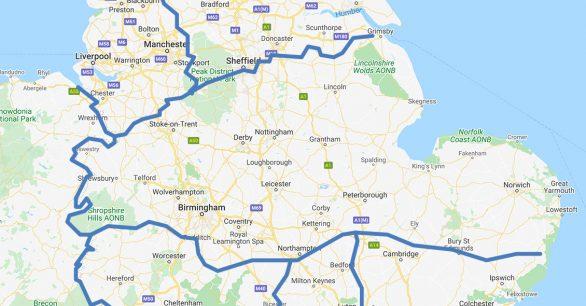 Map of Midlands UK
