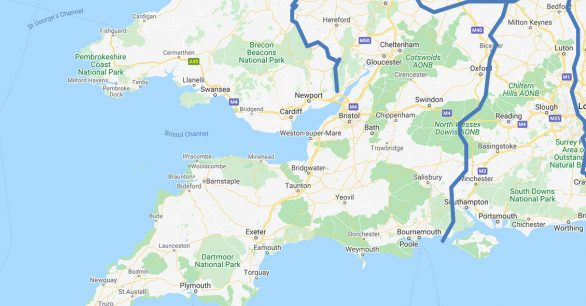 Map of South West UK
